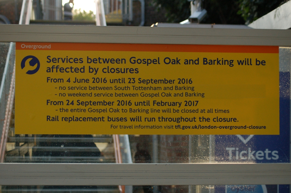 BARKING-GOSPEL OAK CLOSURE 26-5-16