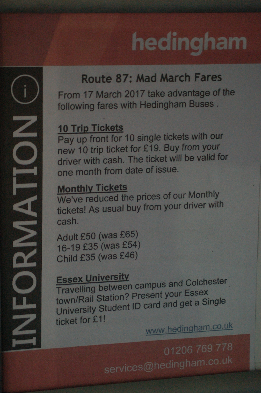 HO MAD MARCH FARES POSTER 28-3-17