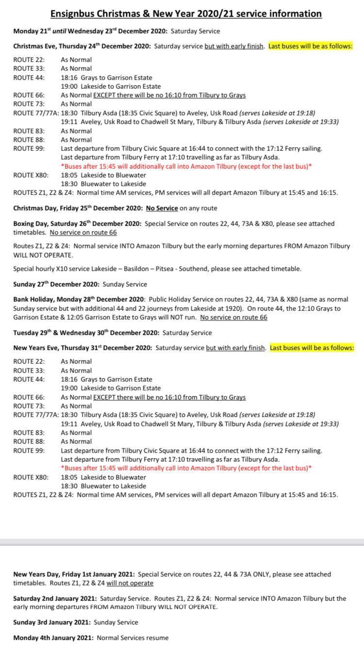 ENSIGNBUS XMAS NY 2020 TIMETABLE (D DISBURY)